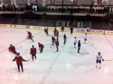 Habs on the ice for a Sunday skate at Brossard