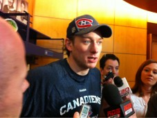 White speaks to reporters after today's practice at Brossard